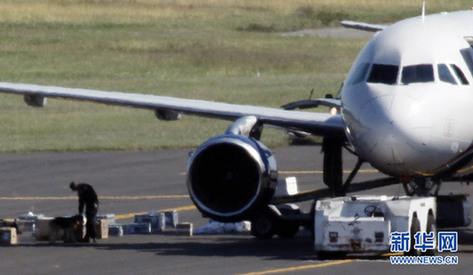在美国宾夕法尼亚州费城国际机场,安全人员检查被叫停航班上的行李.