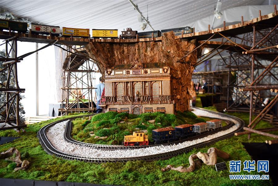 11月26日,在美国纽约植物园节日小火车展上,模型小火车驶过纽约中央车站微缩模型。 新华社记者 韩芳 摄