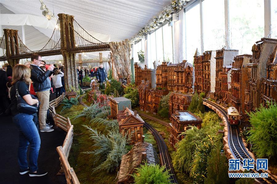 11月26日,在美国纽约植物园节日小火车展上,游客观看模型小火车和纽约微缩景观。 新华社记者 韩芳 摄