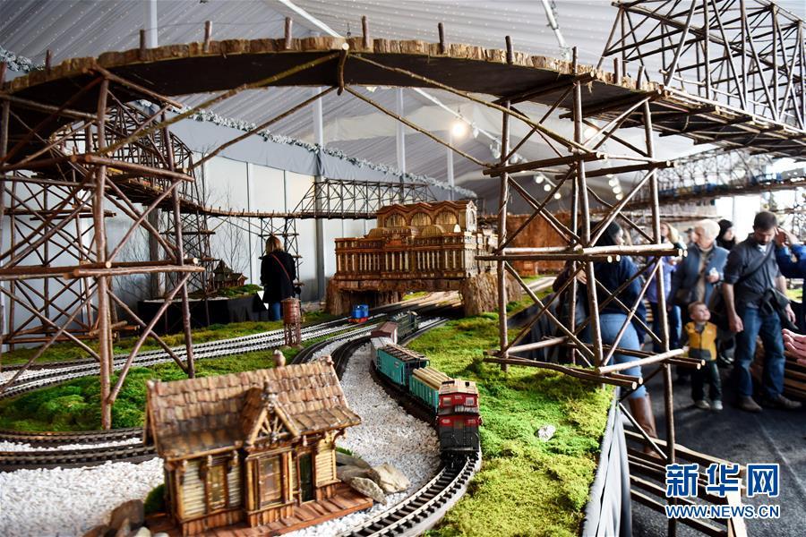 11月26日,在美国纽约植物园节日小火车展上,模型小火车驶出纽约中央车站微缩模型。 新华社记者 韩芳 摄
