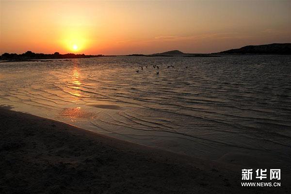希腊埃拉福尼西海滩。新华社发(马里奥斯·罗洛斯摄)  埃拉福尼西岛靠近希腊克里特岛西南角,是一个自然保护区。天气晴朗时,人们可以从克里特岛步行越过浅水滩抵达该岛。