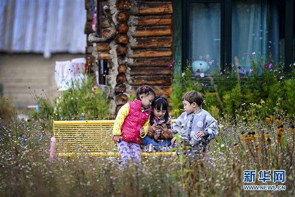 在新疆阿勒泰喀纳斯景区禾木村,几名小朋友在一起玩耍(9月26日摄)。 金秋时节,新疆喀纳斯景区景色如画。高远的天空、唯美的景致,吸引天南海北的游客来到此处休闲游玩。 新华社记者 王菲 摄