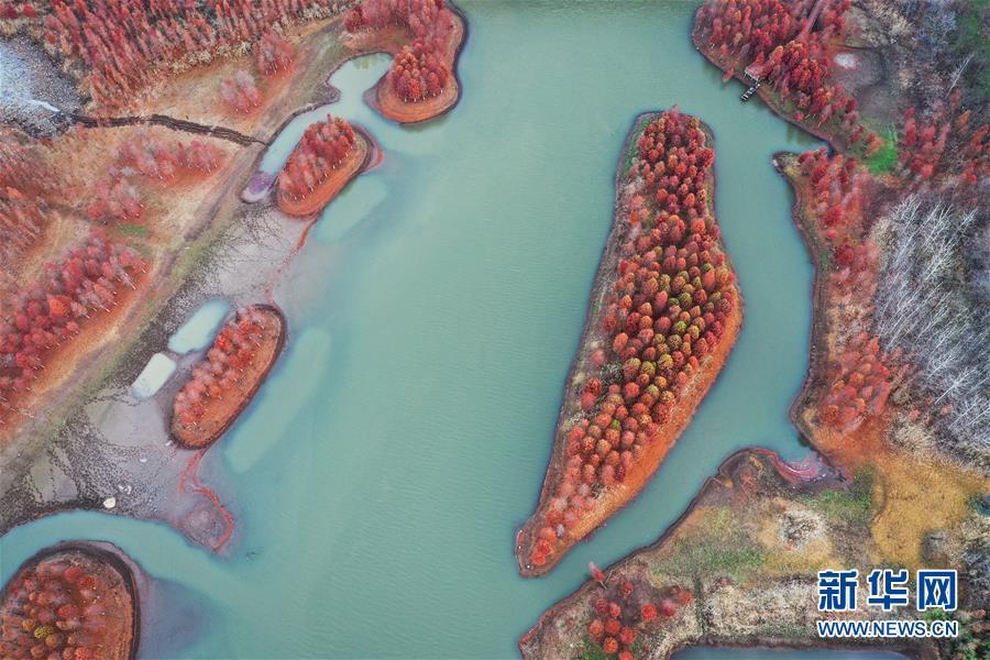 天泉湖景色(11月28日无人机拍摄)。 新华社记者 杨磊 摄