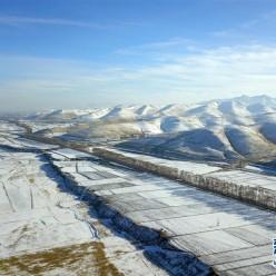 祁连山下冬景如画