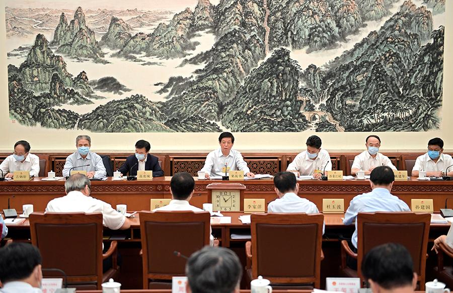 十三届全国人大常委会第二十次会议分组审议香港特别行政区维护国家安全法草案 栗战书参加审议