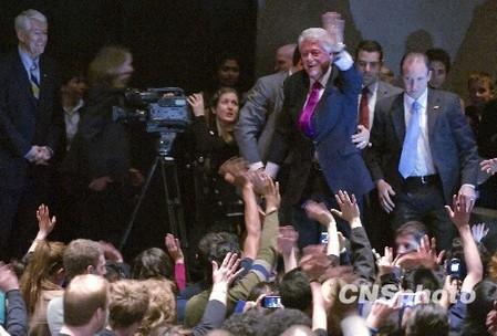美前总统克林顿心脏手术后公开演讲