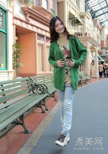 绿色毛衣外套